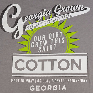 Grey Georgia Grown adult t-shirt with Our Dirt logo on back