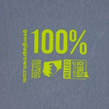 "100% Georgia Grown Cotton Shirt: Blue with ""Grown & Sewn in Georgia"" screen print"