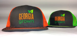 Front view of Baseball cap, mesh panels with large Georgia Grown logo