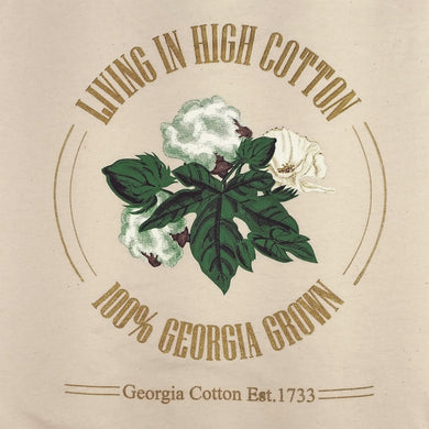 Adult natural color t-shirt with living in high cotton back logo