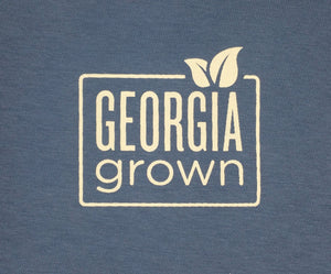"100% Shirt: Blue with ""OUR DIRT GREW THIS SHIRT"" screen print"