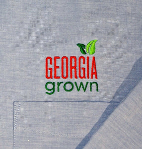 close-up view of Georgia grown logo above left front pocket
