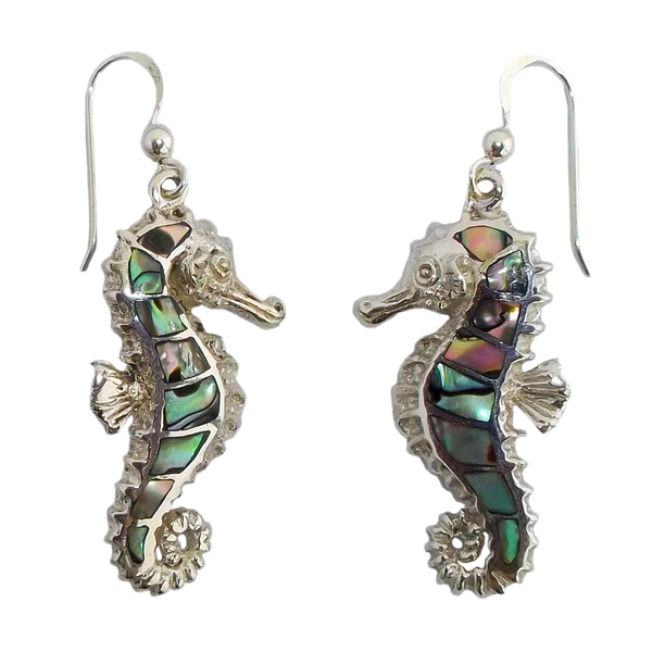 Abalone Shell Seahorse Earrings