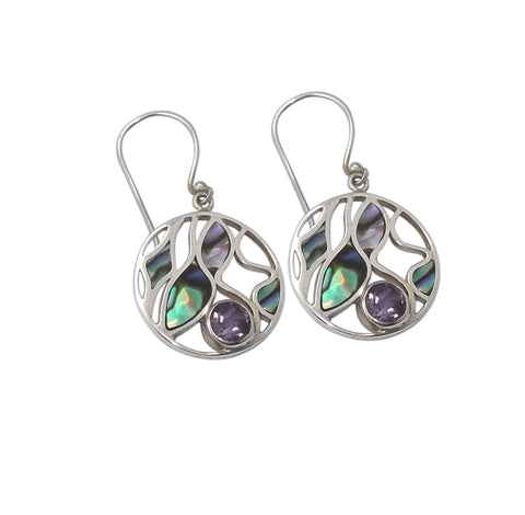 Abalone Shell Earrings with Amethyst
