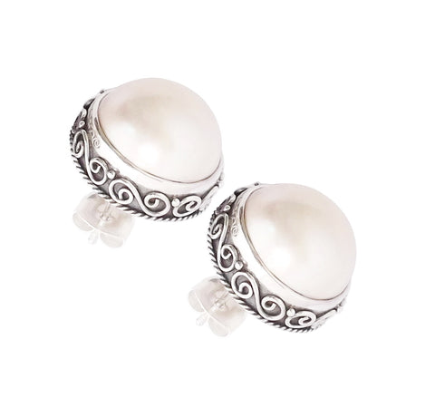 Half Pearl Stud Earrings