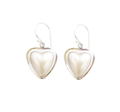 Half Pearl Heart Earrings