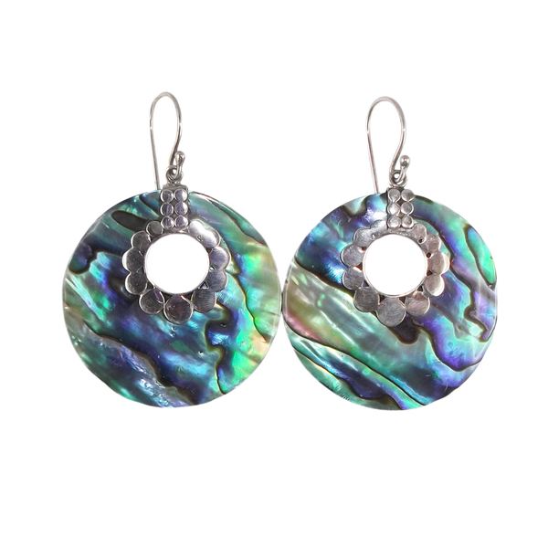 Abalone Shell Disc Earrings