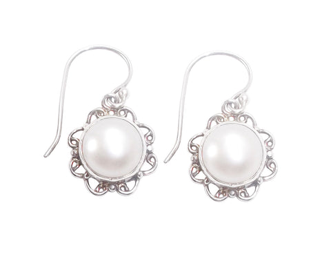Freshwater Half Pearl Earrings