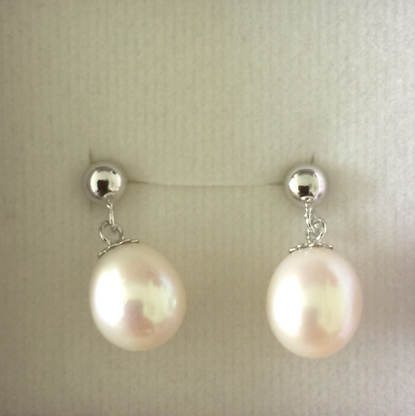 Pearl Drop Earrings - White (9mm)