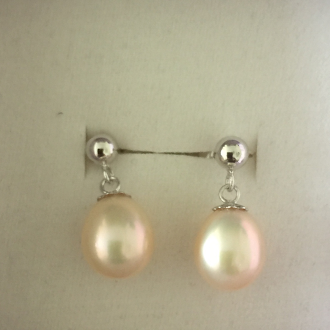 Pearl Drop Earrings - Pink (9mm)