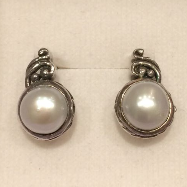 Half Pearl with Silver Earrings