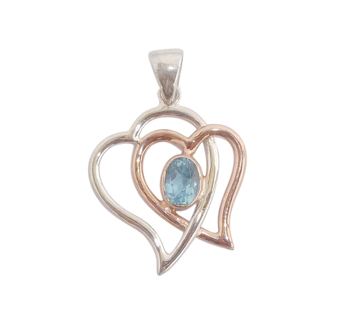 Heart Pendant set with Sky Blue Topaz