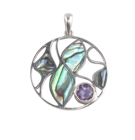 Abalone Shell Pendant with Amethyst