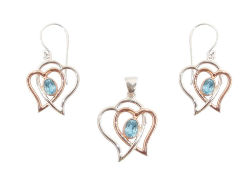Heart Pendant and Earrings with Sky Blue Topaz