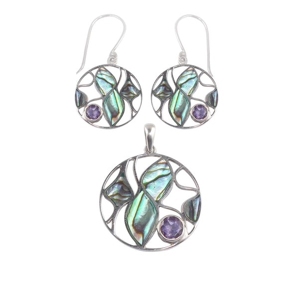 Abalone Shell Pendant & Earrings with Amethyst
