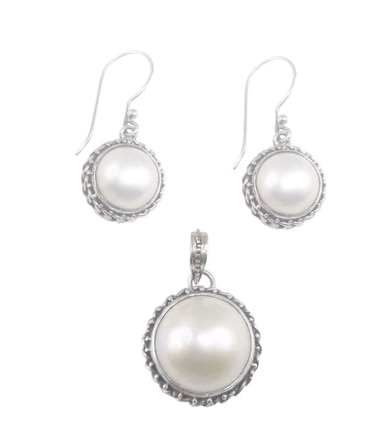 Half Pearl Pendant and Earrings Set