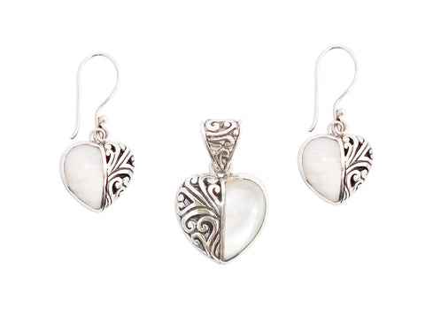 Mother of Pearl Heart Earrings and Pendant Set