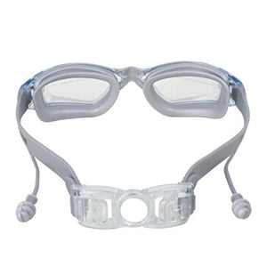 Swim Goggles with Ear Plugs Attached for Men and Women - Adjustable Straps, Silicone Eye Seal, UV Protection and Anti Fog Lenses Swimming Goggle - by Splaqua