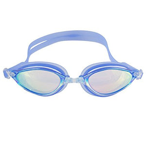 Swimming Goggles - Anti Leak Mirrored Lenses With UV Protection - Ear Plugs & Case Included - One Size Fits All - By Splaqua