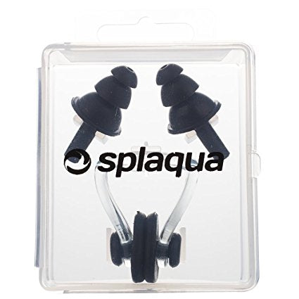 Swimming Ear Plugs & Nose Clip, Medical Grade Soft Silicone for Swimming, Diving, Surfing, Universal Fit, By Splaqua