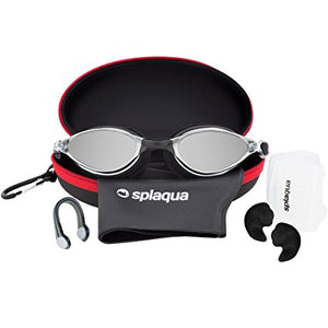 5 Piece Swimming Gear Set: Mirrored Goggles, Swim Cap, Ear Plugs, Nose Clip & Waterproof EVA Case - by Splaqua