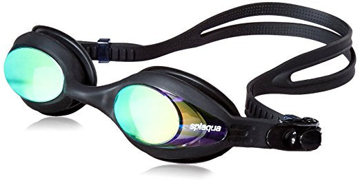 Prescription Swim Goggles with Mirror Lens, Silicone Swimming Gear with Adjustable Fit, Anti-Fog, and UV Protection with Ear Plugs & Hard Case, -1.5 to -10