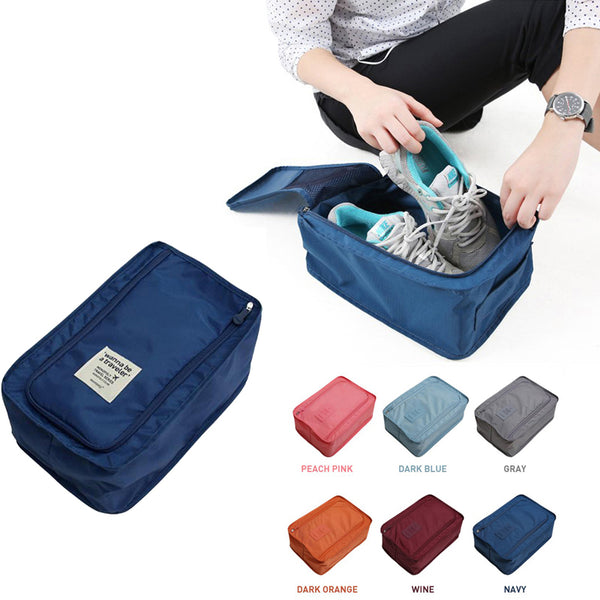 Waterproof Colorful Nylon Travel Shoes Storage Bag with Zipper