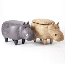 Load image into Gallery viewer, Soft Hippo Shaped Pouf with Storage Box