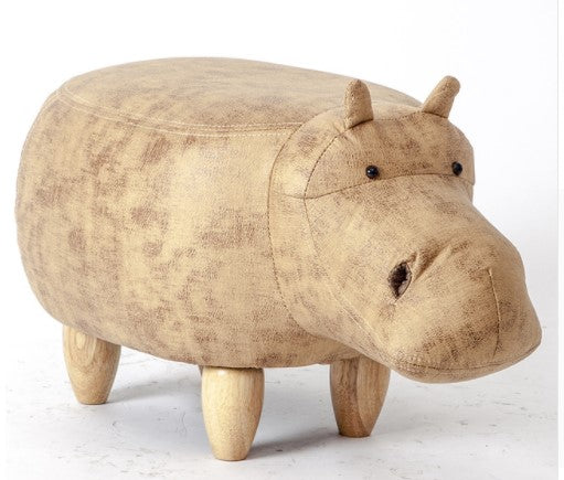 Soft Hippo Shaped Pouf with Storage Box