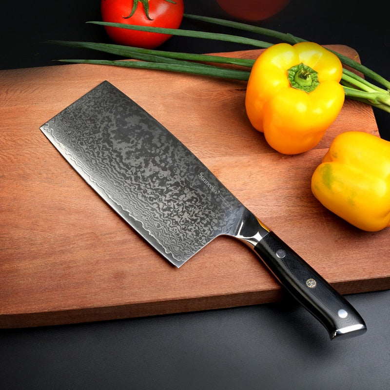 Professional Japanese Damascus Steel Kitchen Cleaver Knife
