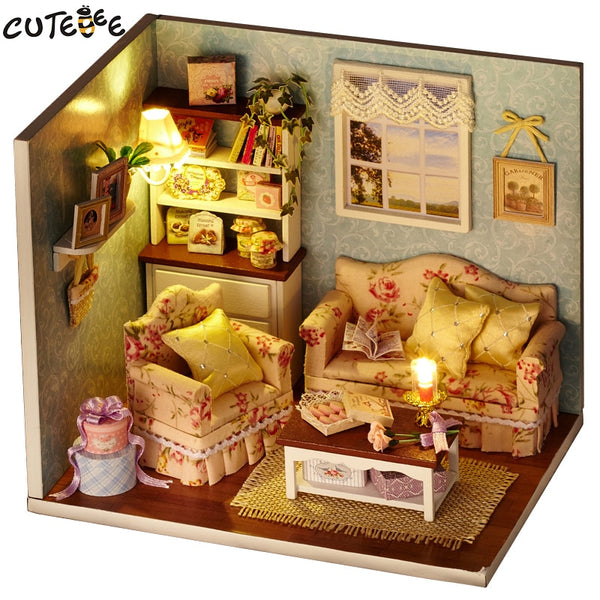 Miniature Living Room/Kitchen DIY Doll House with Furniture