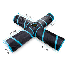 Load image into Gallery viewer, Pet Cat Tunnel Toys for Cat Kitten 4 Holes Collapsible Crinkle Cat Playing Tunnel Toy