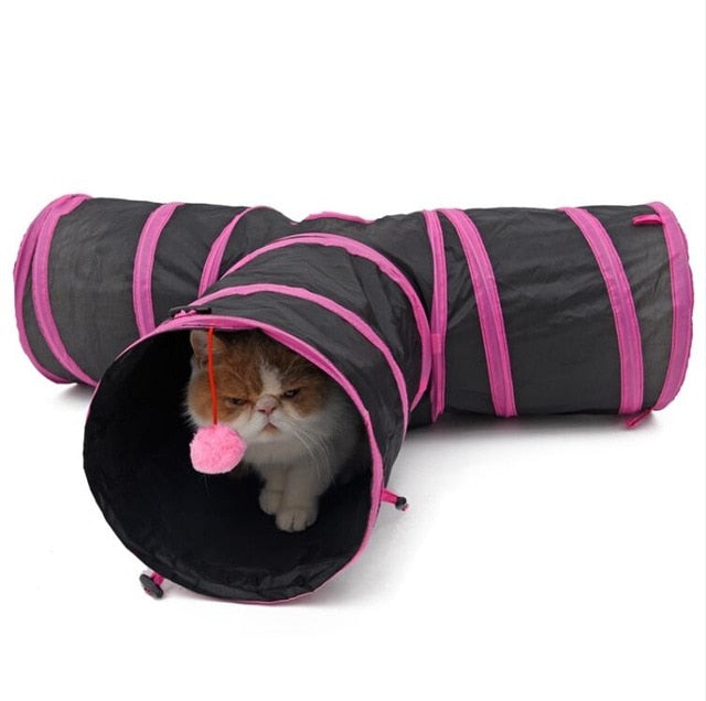 Pet Cat Tunnel Toys for Cat Kitten 4 Holes Collapsible Crinkle Cat Playing Tunnel Toy