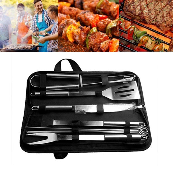 10Pcs/Set Stainless Steel Barbecue Grilling Tools