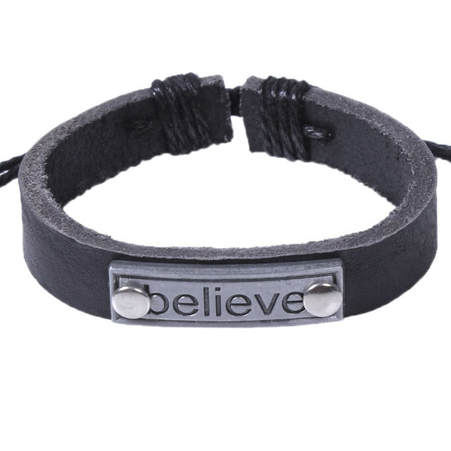 Christian I Love Jesus Charm Leather Bracelet
