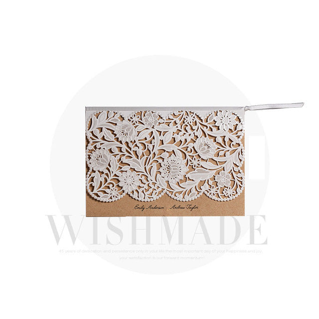 Elegant vintage laser cut wedding invitation card with envelope stopboris Image collections