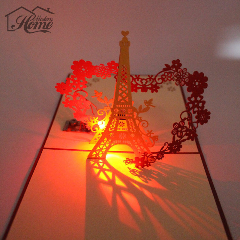 3d Eiffel Tower Led Laser Cut Pop Up Greeting Card With Envelope