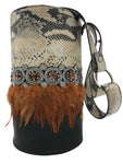 Vanilla and black embossed & black leather bag with stones and feathers