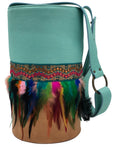 Aquamarine & beige leather crossbody and Shoulder bag with sequins and feathers