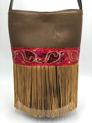 "Brown & Black  leather bag with fringes. ""Down-To-Earth Magic""."
