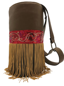 Brown & Black  leather bag with fringes