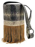 Embossed golden & black  leather bag with fringes