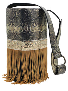 "Embossed golden & black  leather bag with fringes. ""Venetian Soul""."
