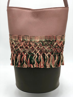 Nude & dark green leather with tassels