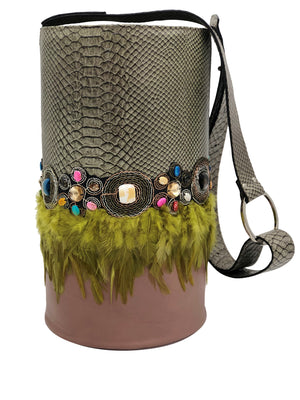 Embossed green & nude leather bag with stones and  feathers.