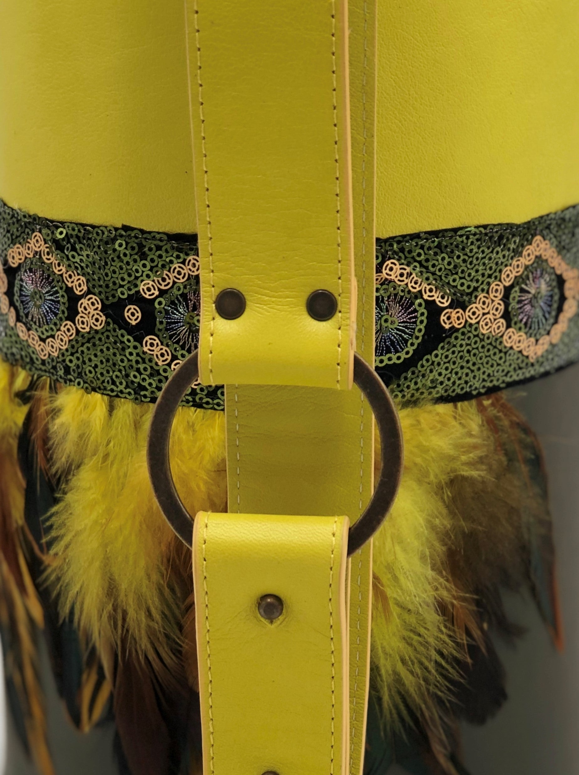 "Neon yellow & green leather bag with feathers. ""Neon Forest""."