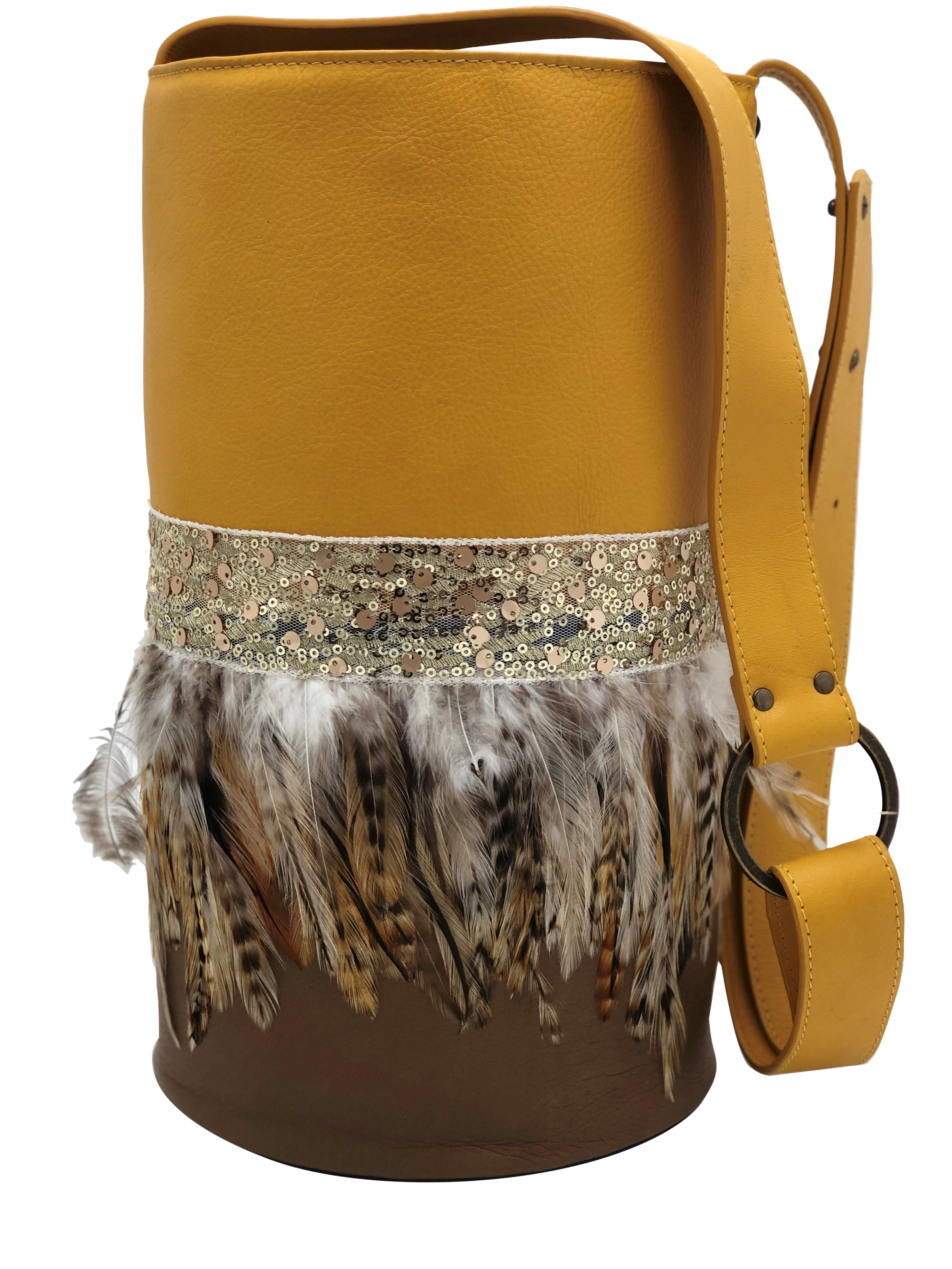 Yellow & beige leather bag with feathers.