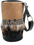 Hair calf & black leather bag with stones and feathers.