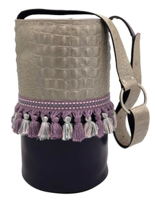 "Embossed gray & purple leather bag with tassels. ""Bond To You""."