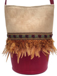 Beige haircalf & cherry leather bag with feathers